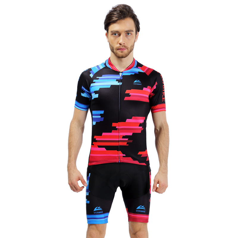 Blue with Red Breathable Quick Dry Long Sleeve Women's Cycling Jersey