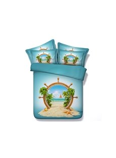 Ship Wheel and Beach Scenery Printed Cotton 3D 4-Piece Bedding Sets/Duvet Covers