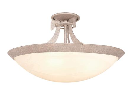 Copenhagen 4346PS/SMKTAUP 3-Light Semi Flush Mount Ceiling Light in Pearl Silver with Smoked Taupe Standard Bowl Glass