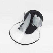 Men Solid Baseball Cap With Detachable Face Shield