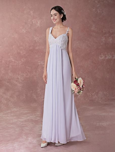 Milanoo Vestido de novia de gasa y saten con correa blanca de estilo real