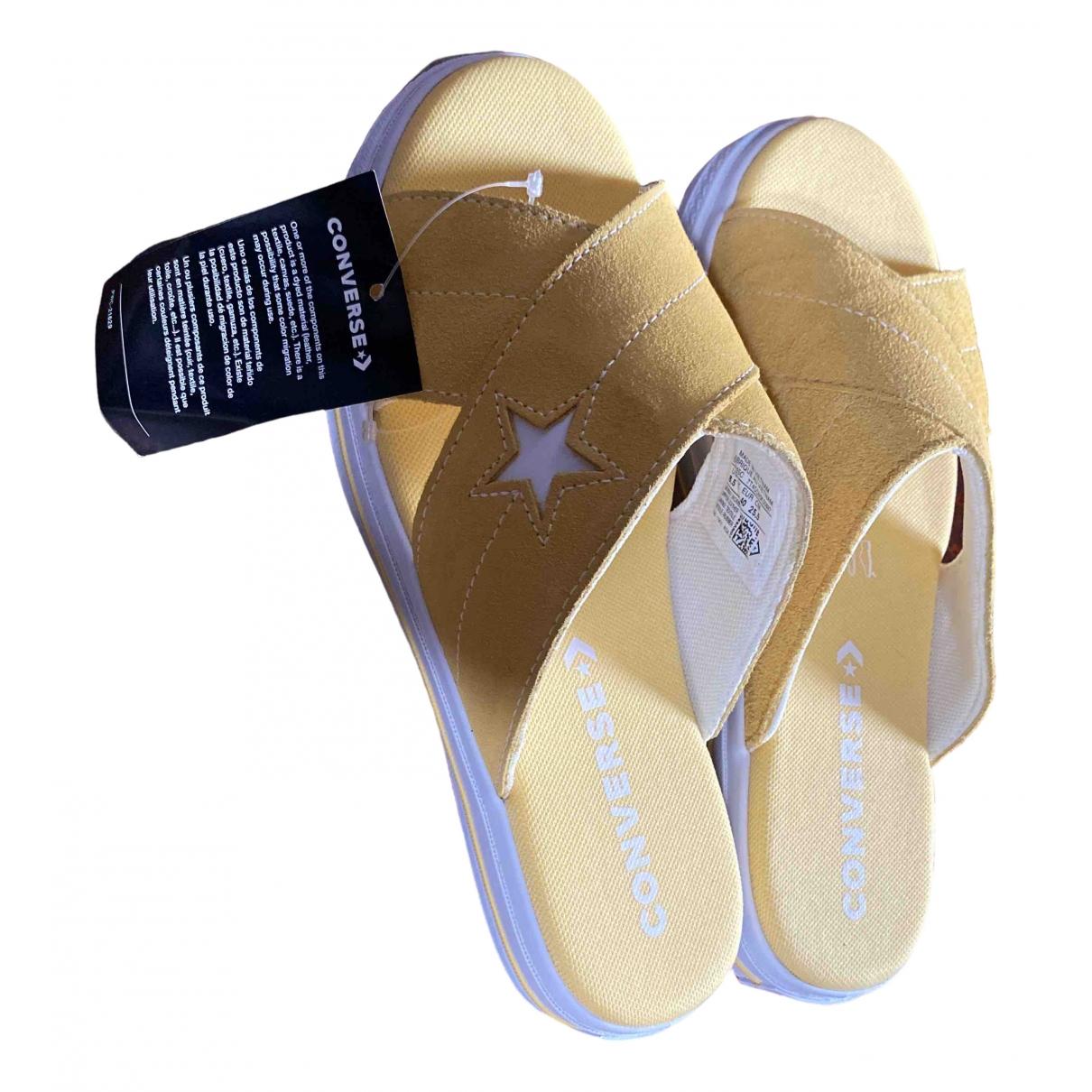 Converse - Sandales   pour femme en cuir - jaune