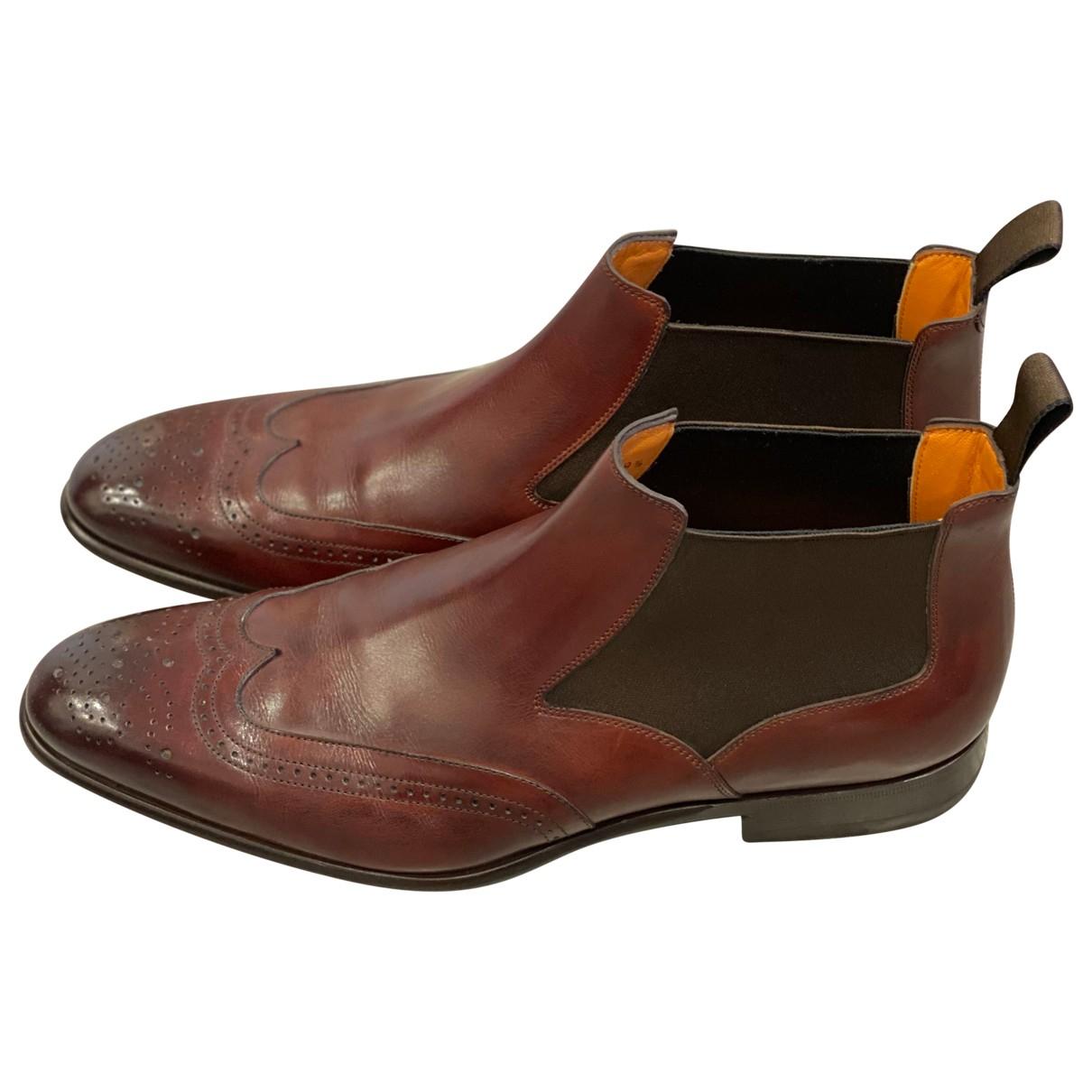 Santoni \N Stiefel in  Bordeauxrot Leder