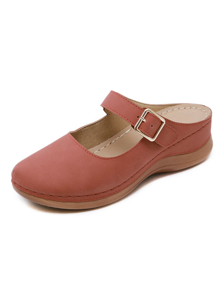 Milanoo Wedge Sandals For Women Fashion Monk Strap PU Leather Skid Resistant