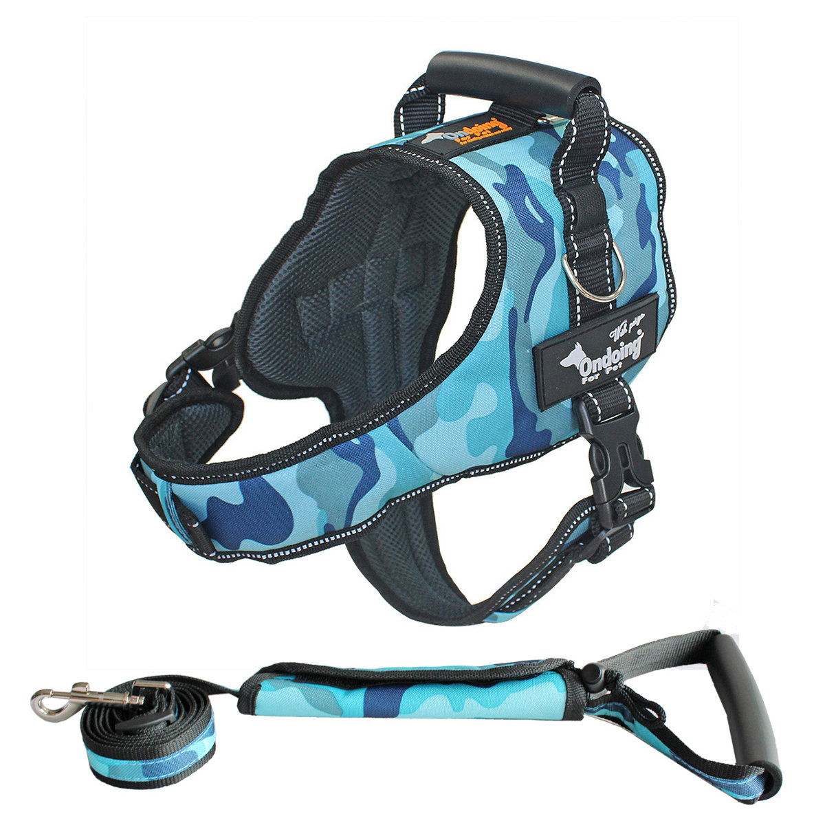 Ondoing Dog Harness Adjustable Pet Vest Harness No Pull Padded Reflective with Leash