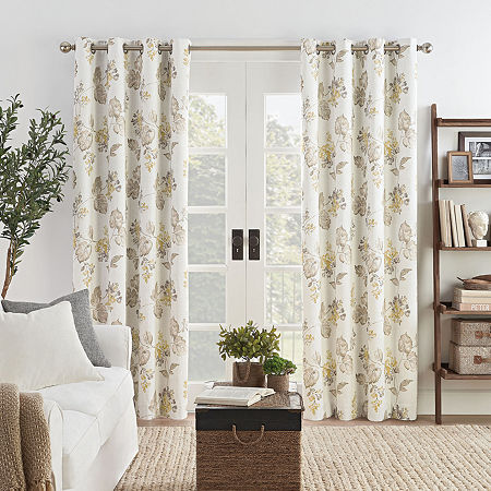 Eclipse Ambiance Floral Draft Stopper Energy Saving 100% Blackout Grommet-Top Single Curtain Panel, One Size , White