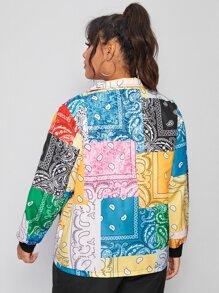 Plus Paisley And Patchwork Print Windbreaker Jacket