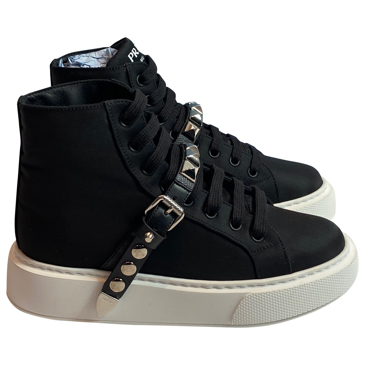 Prada \N Black Leather Trainers for Women 36 IT