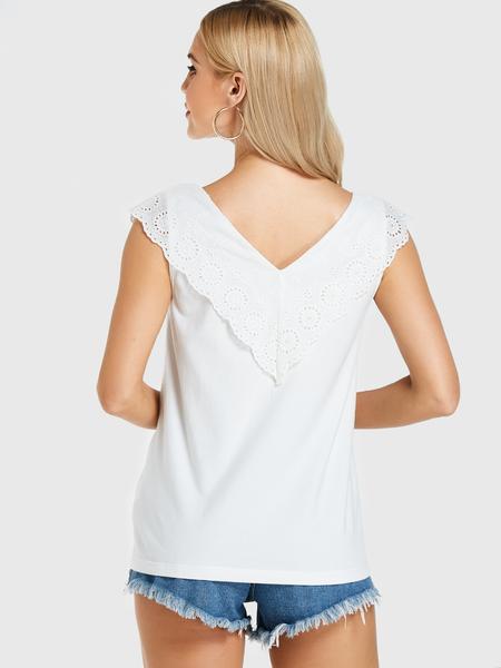 Yoins White Crochet Lace Embellished V Neck Tank Top