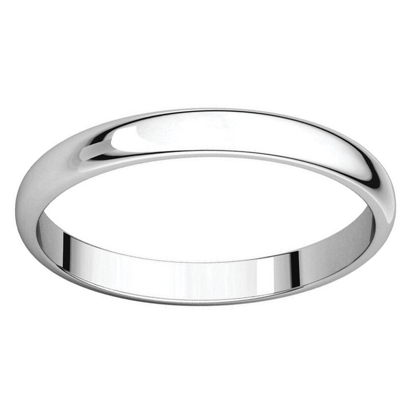 Sterling Silver Half-round Polished Wedding Band Ring - White (10)