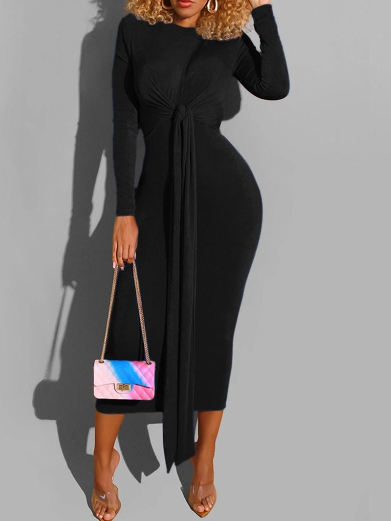 Ericdress Lace-Up Long Sleeve Mid-Calf Pullover Plain Dress