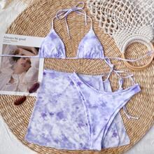 3 Stuecke Dreieckiger Bikini Badeanzug mit Batik & Strandrock