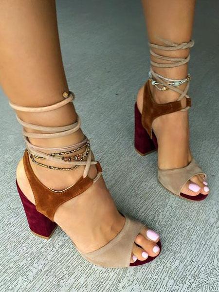Milanoo Sandalias de tacon 2020alto Suede Brown Open Toe Sandalias con cordones Zapatos de mujer