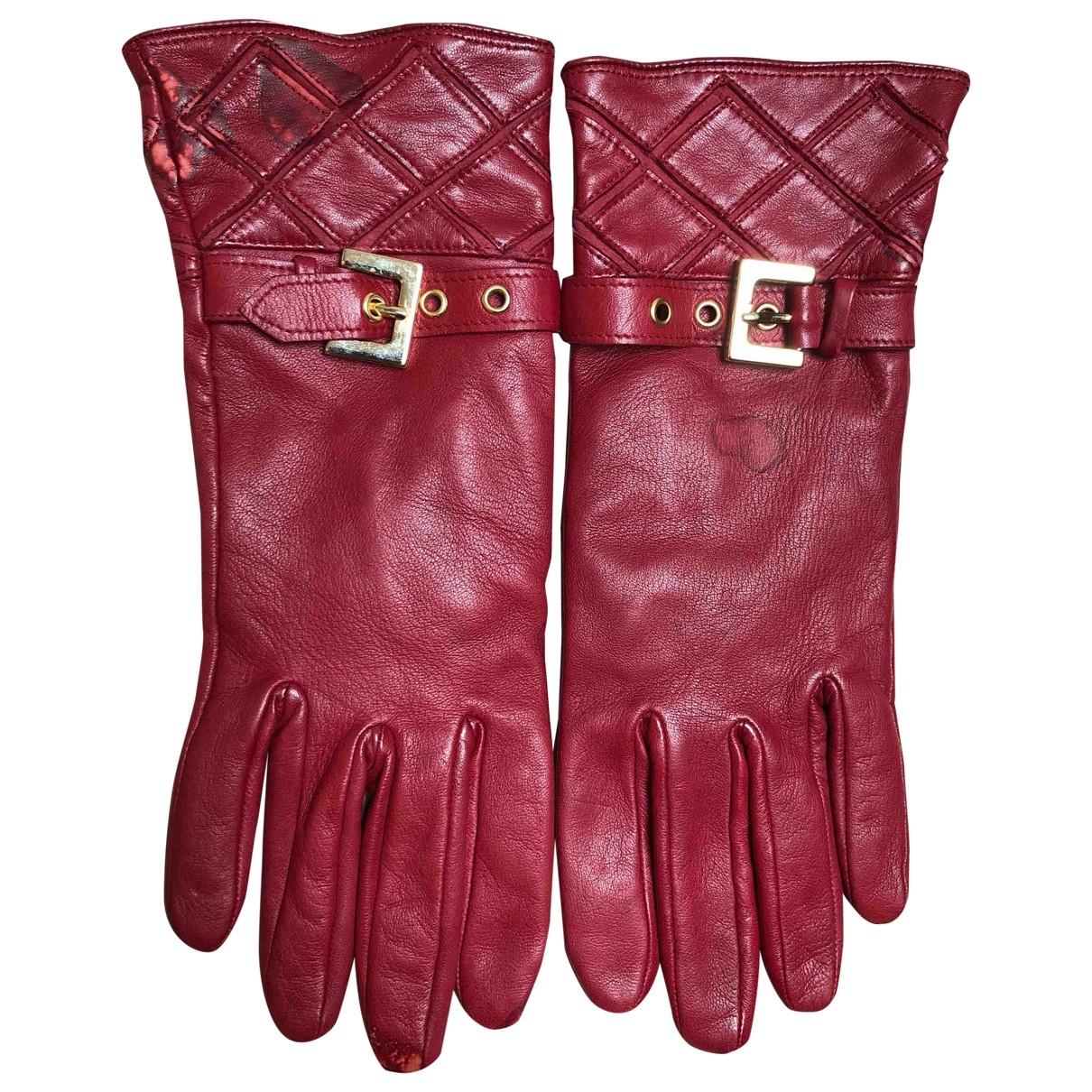 Pollini \N Handschuhe in  Rot Leder