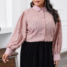 Plus Fringe Overlay Button Front Blouse