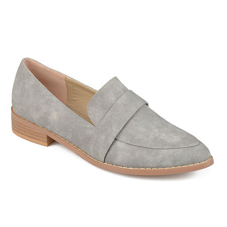 Journee Collection Womens Rossy Loafers Pointed Toe, 12 Medium, Gray