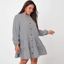 Plus Button Front Gingham Smock Dress