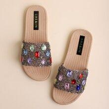 Gemstone & Rhinestone Decor Slide Sandals