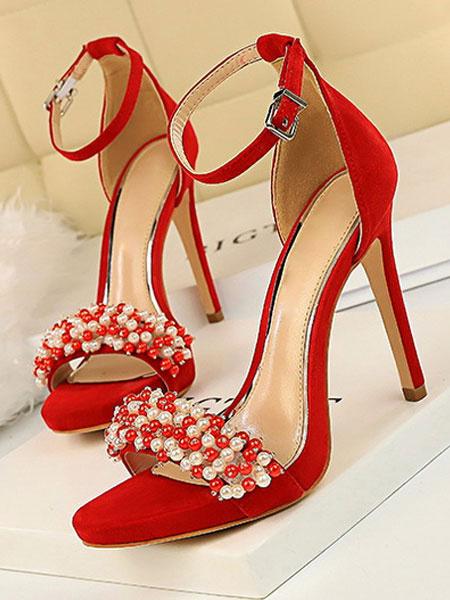 Milanoo High Heel Sandals Open Toe Ankle Strap Pearls Sandals Womens Stiletto Heels Sandals