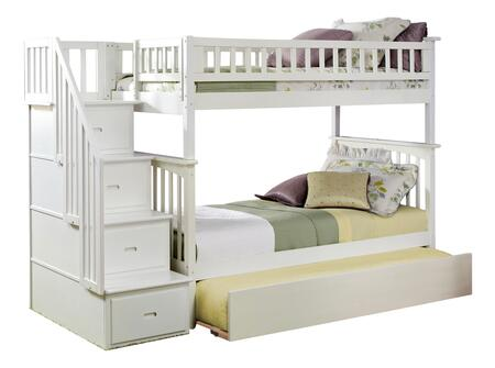 Columbia Collection AB55652 Twin Size Staircase Bunk Bed with Twin Size Urban Trundle  Casters  Steel Bolts  Modern Style and Solid Eco-Friendly
