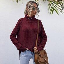 Turtleneck Raglan Sleeve Split Hem Sweater
