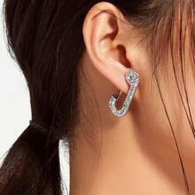 Rhinestone Decor Paper Clip Design Hoop Earrings