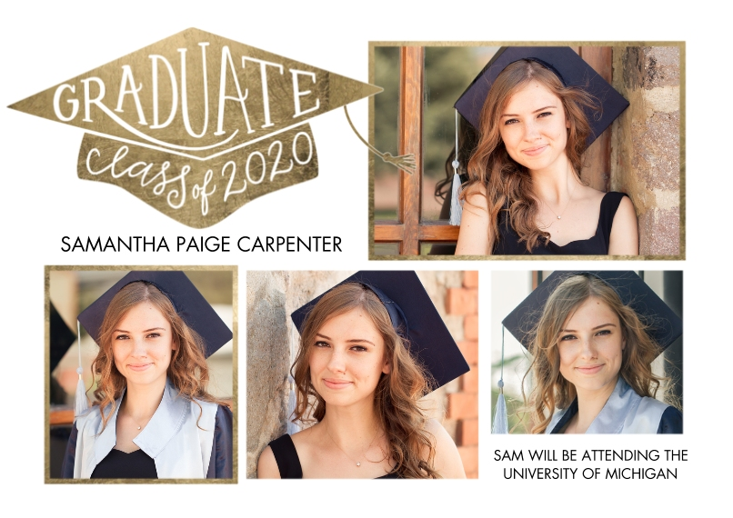 2020 Graduation Announcements 5x7 Cards, Standard Cardstock 85lb, Card & Stationery -Graduate Cap Class of 2020 by Tumbalina