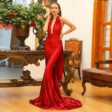 Satin Kleid mit Selbstband, tiefem Ausschnitt und Neckholder