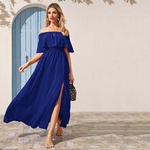 Split Thigh Ruffle Trim Bardot Dress