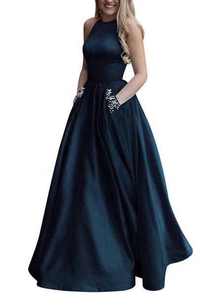 Milanoo Prom Dress Satin Fabric Halter A Line Sleeveless Beaded Floor Length Party Dresses