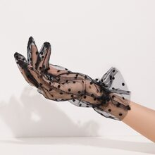 Polka Dot Mesh Gloves
