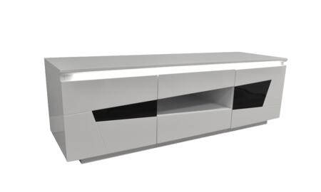 FA-1013 59 TV Stand with 2 Drawers  2 Self Closing Doors with Acrylic Inserts  LED Lighting and Glossy Lacquer Finish in