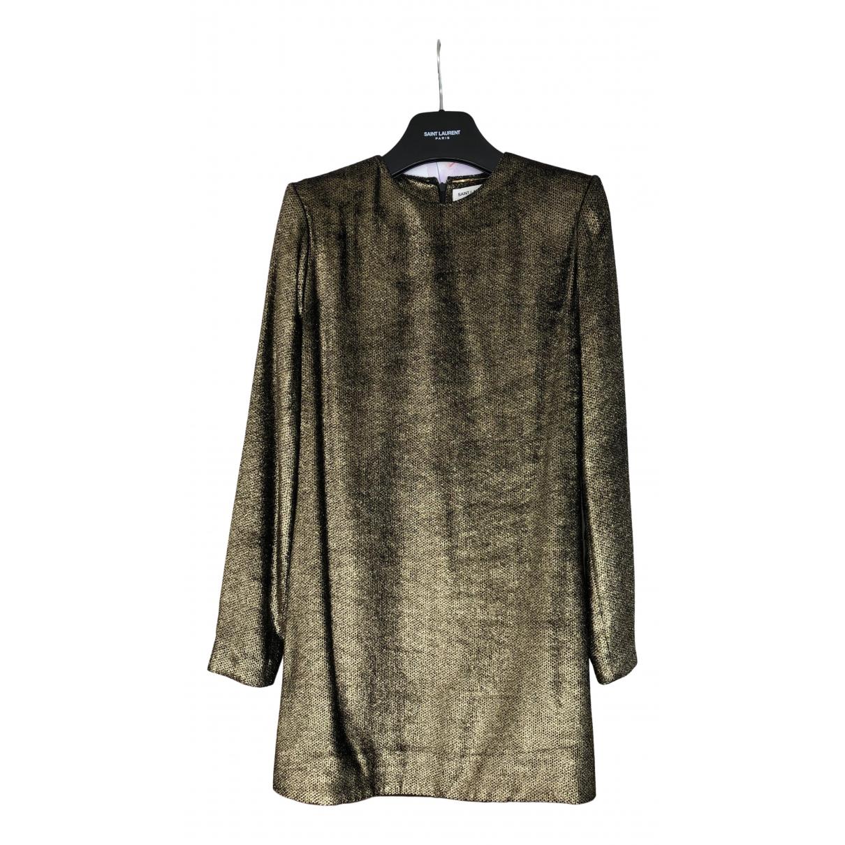 Saint Laurent \N Kleid in  Gold Samt
