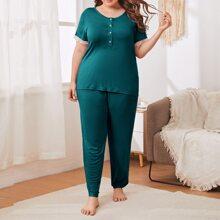 Pijamas de Talla Grande Encaje en contraste Monocolor Casual