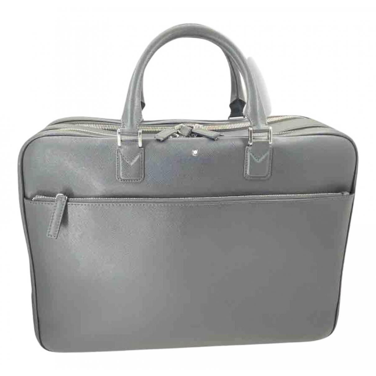 Montblanc N Grey Leather bag for Men N