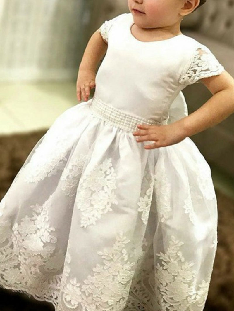 Ericdress Appliques Ball Gown Short Sleeves Flower Girl Dress