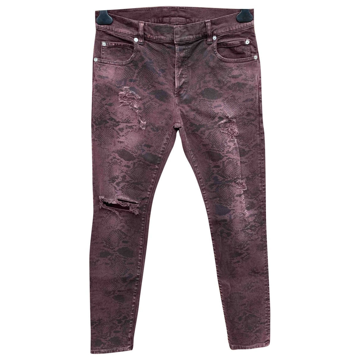 Balmain \N Burgundy Cotton - elasthane Jeans for Men 30 US