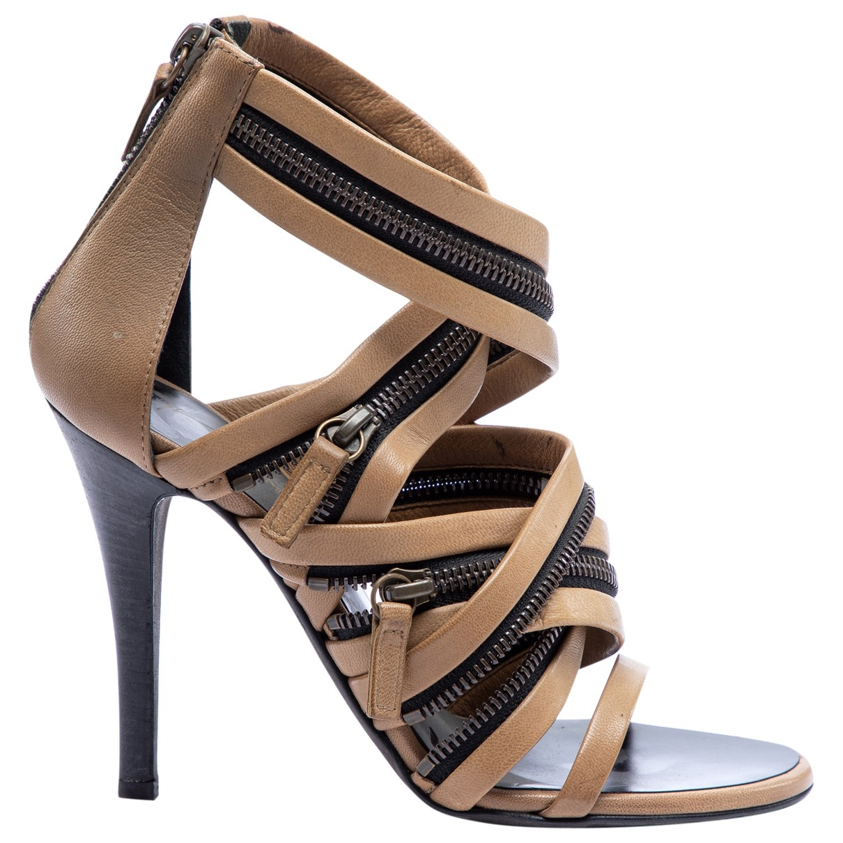 Giuseppe Zanotti X Balmain \N Brown Leather Sandals for Women 36 EU