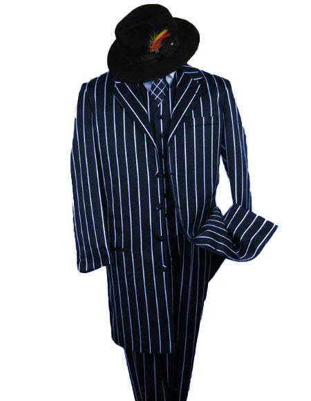 SHIMMERY GANGSTER Dark Navy White Stripe ~ Pinstripe Mens Suits