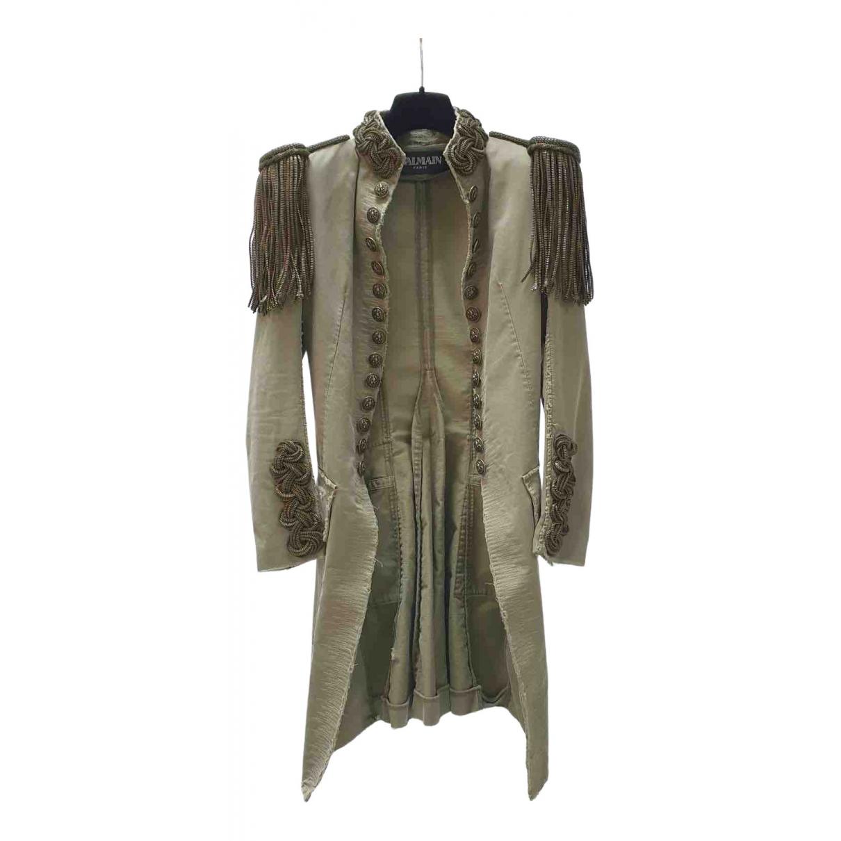 Balmain - Manteau   pour femme en coton - kaki