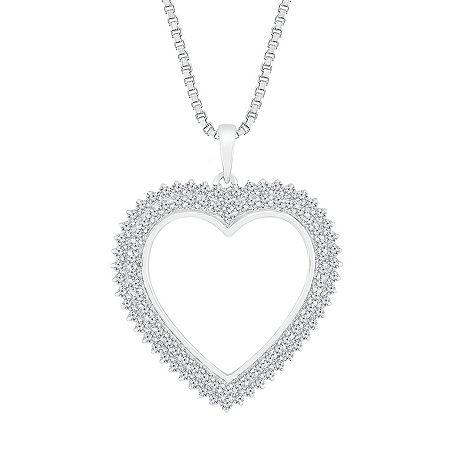 Womens 1 CT. T.W. Genuine White Diamond 10K White Gold Heart Pendant, One Size , No Color Family