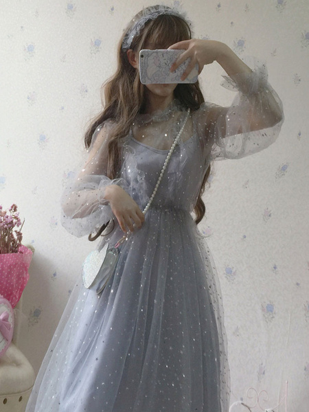 Milanoo Sweet Lolita 2 Piece Dress Sequin Tulle Slip Dress and Cover Up
