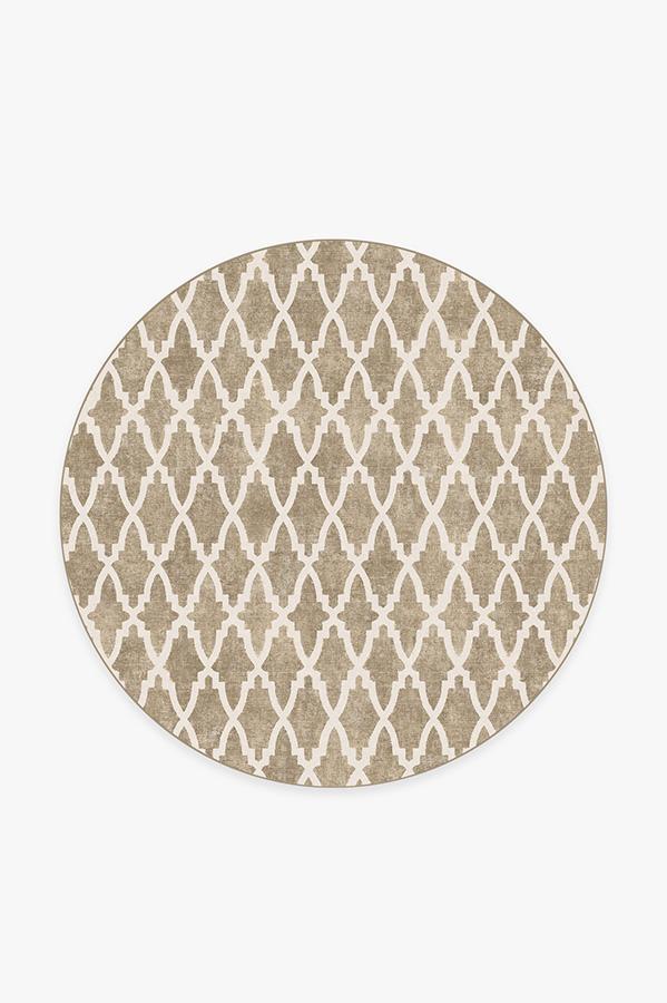 Washable Rug Cover & Pad | Soraya Trellis Natural Rug | Stain-Resistant | Ruggable | 6 Round