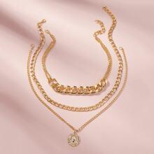 Halskette Set mit Muenze Dekor und Kette 3 Stuecke
