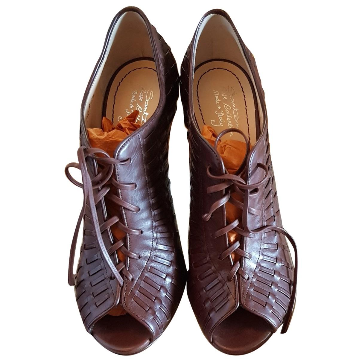 Santoni - Escarpins   pour femme en cuir - marron