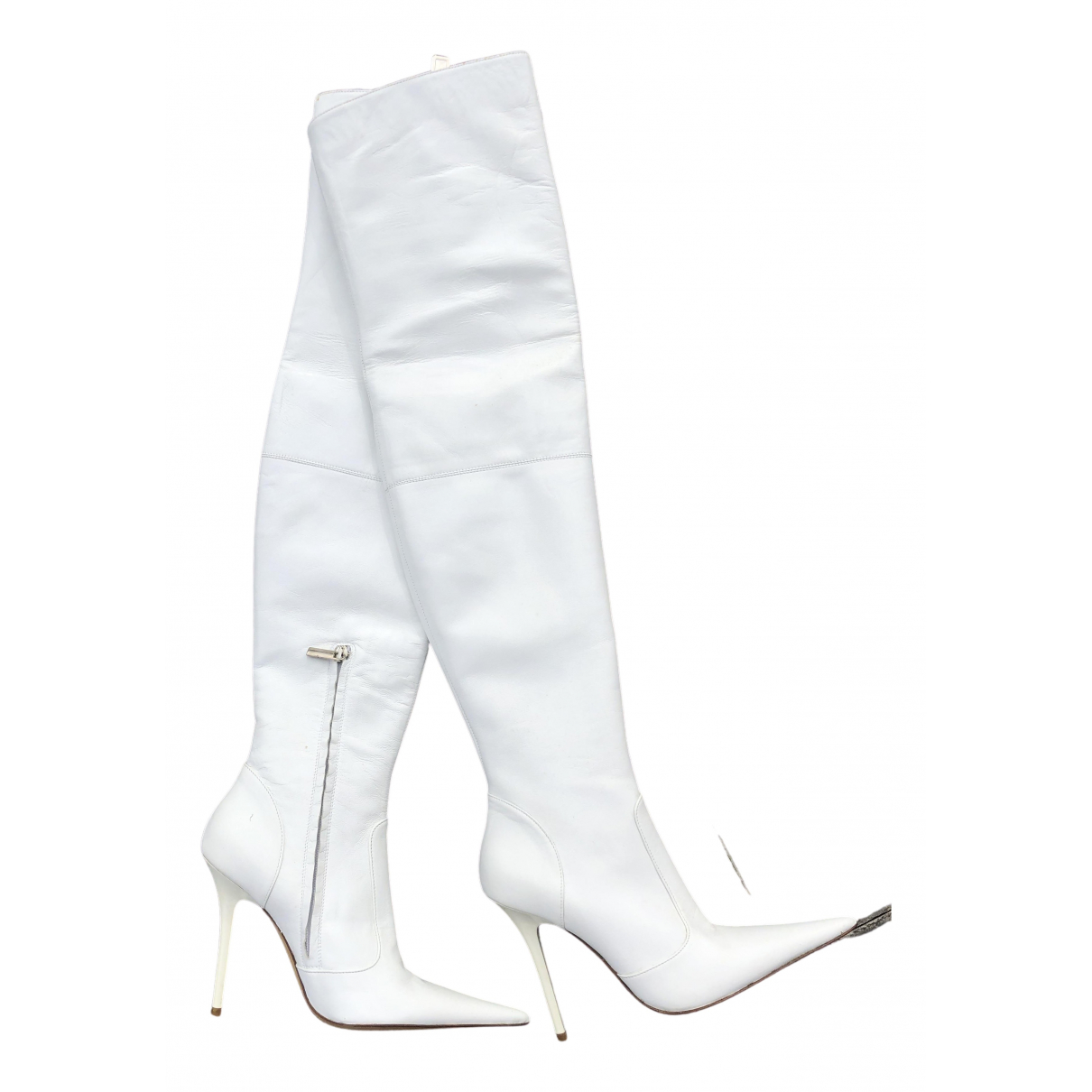 Non Signe / Unsigned \N Stiefel in  Weiss Leder