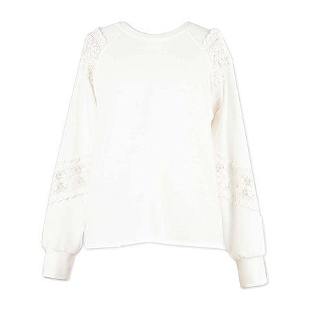 Speechless Big Girls Crew Neck Long Sleeve Sweatshirt, Small , White
