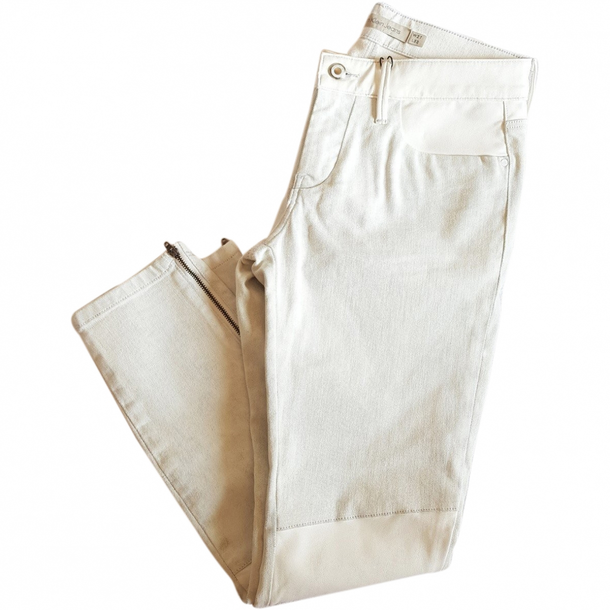 Calvin Klein \N White Cotton Trousers for Women S International