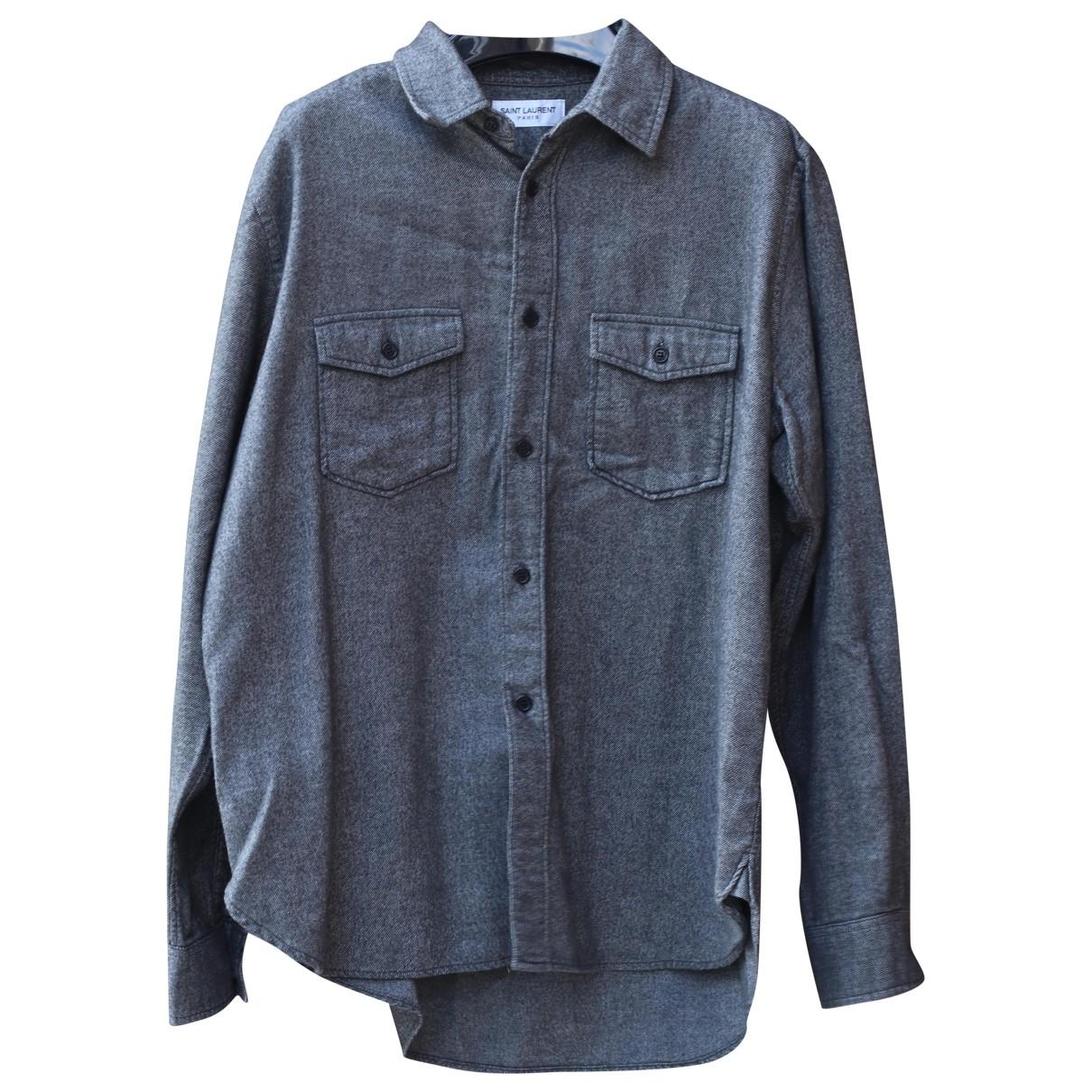 Saint Laurent \N Grey Cotton Shirts for Men S International