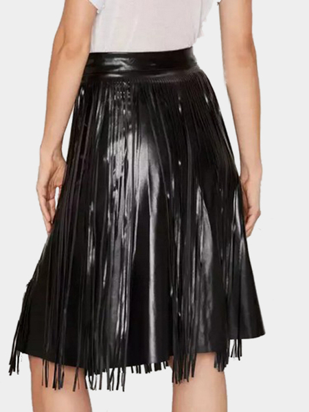 Yoins High Waist Artificial Leather Skirt with Tassel Details